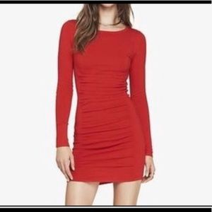 EXPRESS  Red Ruched Knit Dress  NWOT